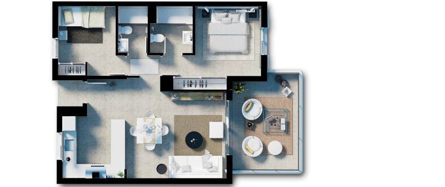 Acquamarina, plattegrond van appartement met 2 slaapkamers