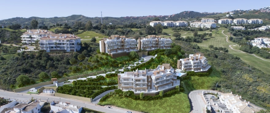 "Panoramic views of the new homes at ""Grand View"", Mijas, Costa del Sol"