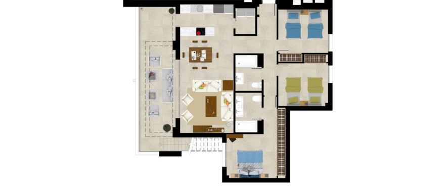 Grand view, plan 3 bedroom penthouse
