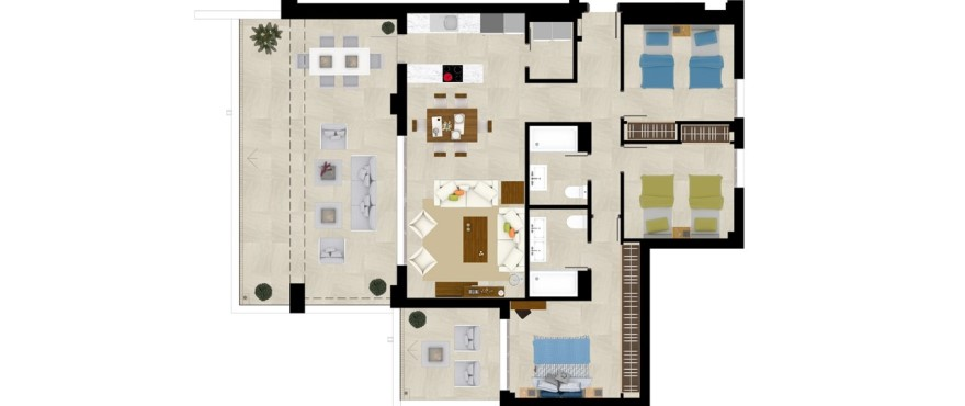 Grand view, plan 3 bedroom apartment