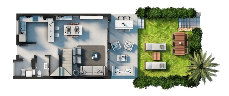 Plantegning: 3 soverom, 2 bad, toalett, terrasse, hage og garasje