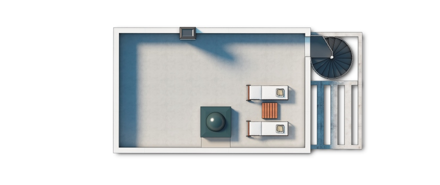 Planimetria case in vendita in Costa Blanca, tre camere, due bagni, toilette, garage e giardino. Primo piano