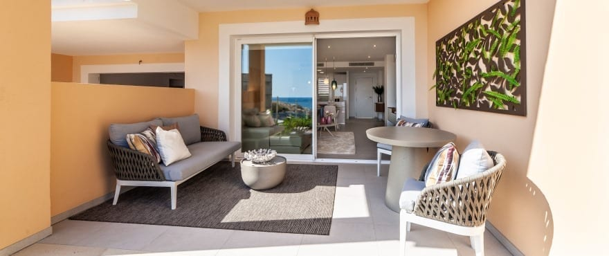 Blue Cove, terrace with views of the Mediterranean Sea, Cala Lliteras, Capdepera, Majorca