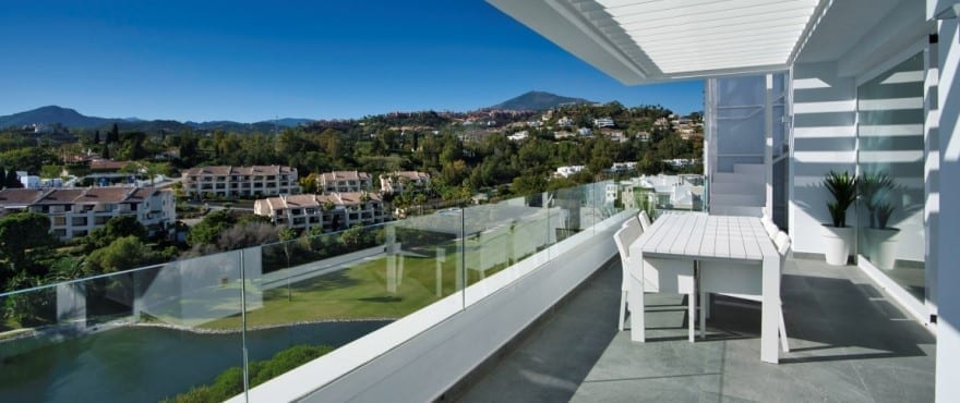 Terrace of the penthouse at Le Caprice with spectacular views over the golf course and the Mediterranean Sea
