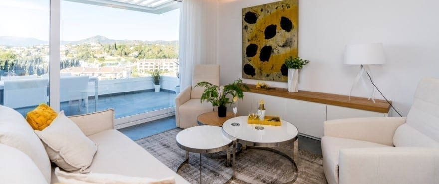 Bright and airy living room in the new homes at Le Caprice, in la Quinta