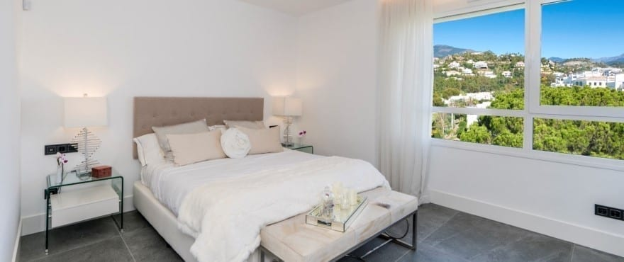 Bright bedroom in the apartments at Le Caprice