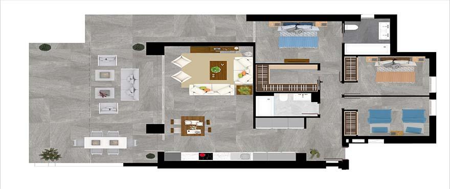 Kart type A - leilighet med 3 soverom og 2 bad
