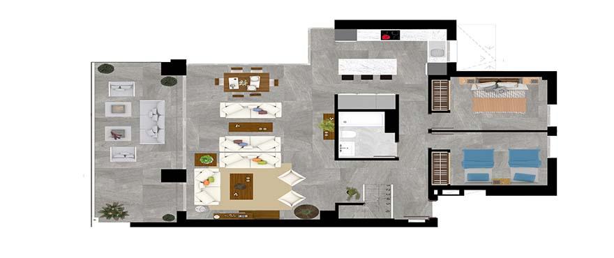 Kart type B - toetasjes leilighet med 3 soverom og 3 bad