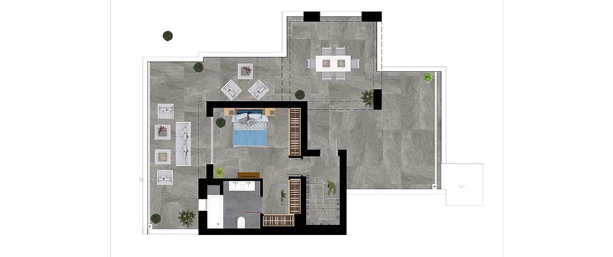 Plan type B - duplex with 3 bedrooms and 3 bathrooms