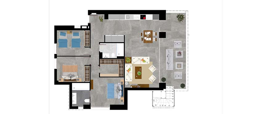 Plan type C – apartment with 3 bedrooms and 2 bathrooms