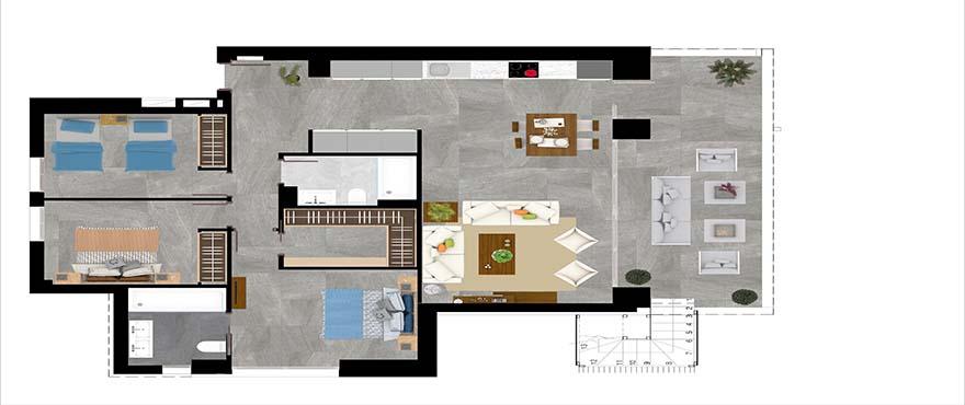 Kart type C - leilighet med 3 soverom og 2 bad