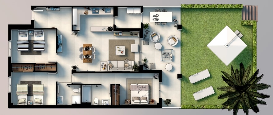 Royal Blue, Plan 3-bedroom apartment, ground floor homes with private garden