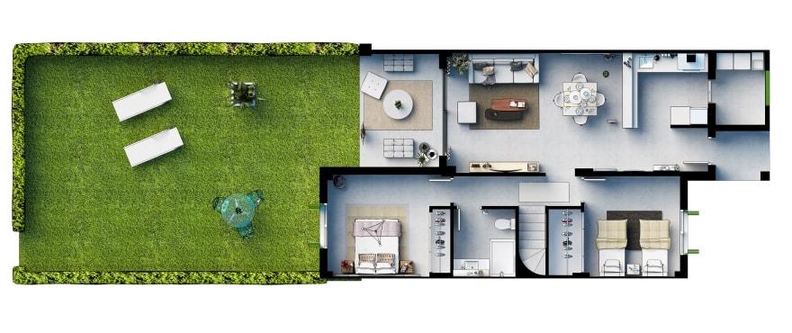Blue Cove, Grundriss eines Erdgeschossapartments mit 2 Schlafzimmern und privatem Gartenabschnitt