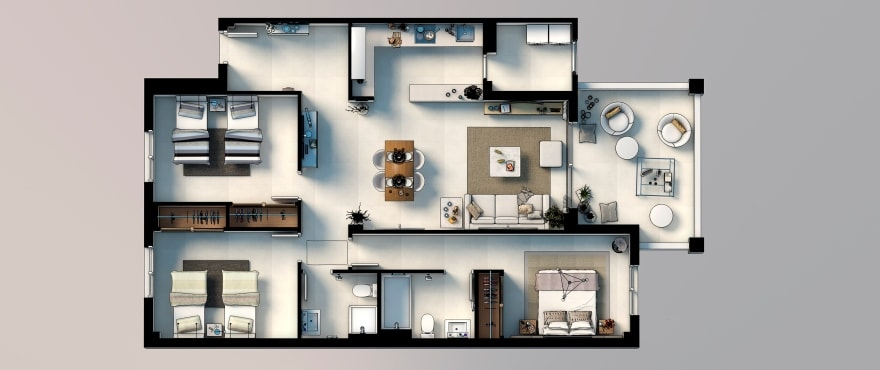 Royal Blue, Plan 3-bedroom apartment