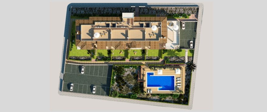 Royal Blue, Overview of the apartments for sale with communal pool and outdoor parking.