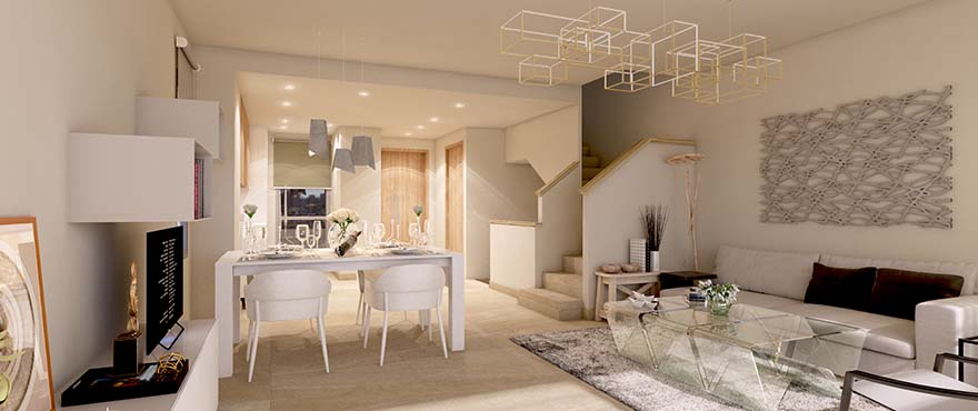 Green Golf, bright living room at the new homes for sale at Estepona Golf. South or southwest facing