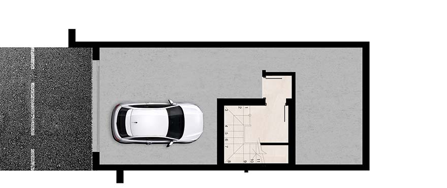 Green Golf, plan of the private basement with space for a vehicle and a storage room