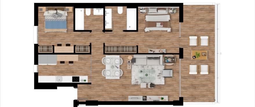 Pier, plattegrond 2 slaapkamers