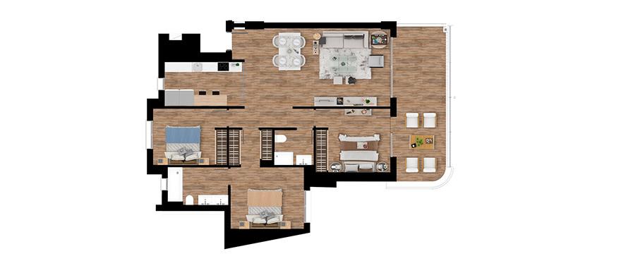 Pier, plattegrond 3 slaapkamers