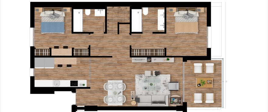 Pier, plan 2 bedrooms, Penthouse