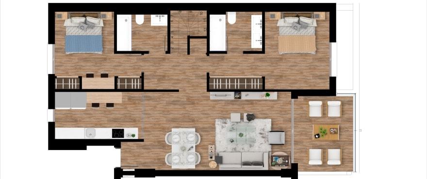 Pier, plan 2 chambres, attique
