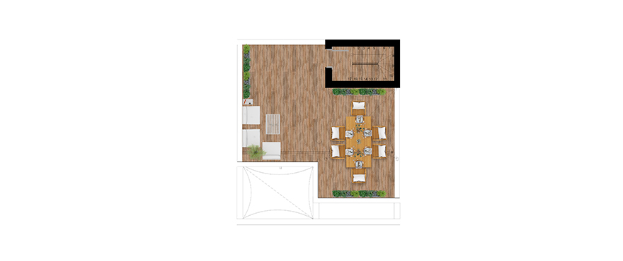 Pier, plan 2 chambres, attique, solarium