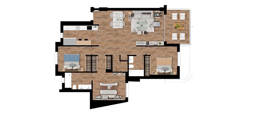 Pier, plan 3 chambres, attique