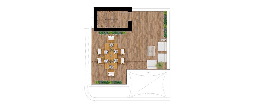 Pier, plan 3 chambres, attique, solarium