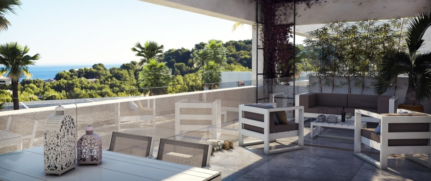 New townhouses with large terraces in Cala Vinyes