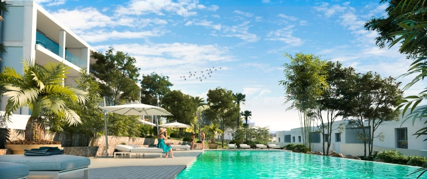 Sunset Ibiza, new apartments with pool for sale at Cala Gració, Ibiza