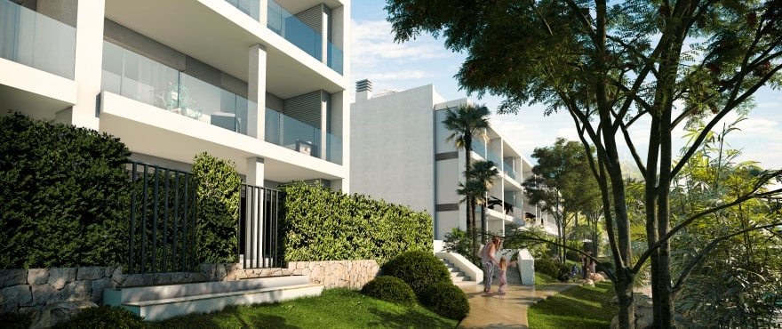 Sunset Ibiza, new apartments with communal gardens for sale at Cala Gració, Ibiza