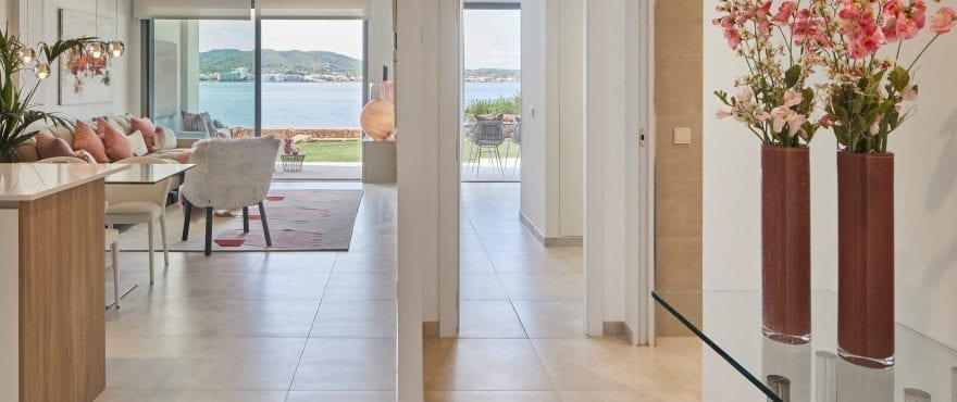 Spacious living-dining room and open plan kitchen at Sunset Ibiza