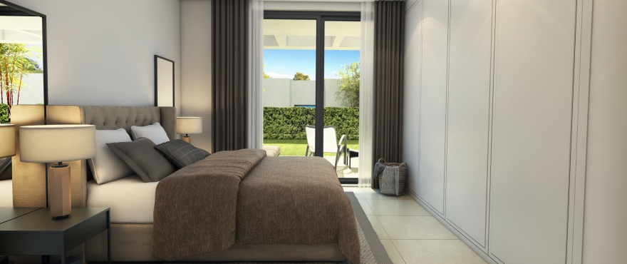 Bright bedroom in the new Cala Vinyes residential complex