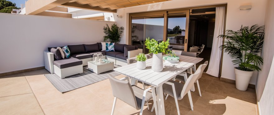 Large terrace with panoramic views of the golf course at La Cala Resort