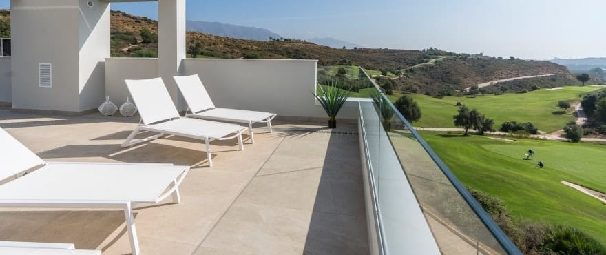 Large solarium with panoramic views of the golf course at La Cala Resort
