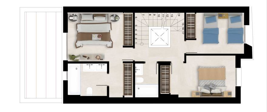 Natura – plan of upper floor, 3 bedrooms, 2 bathrooms