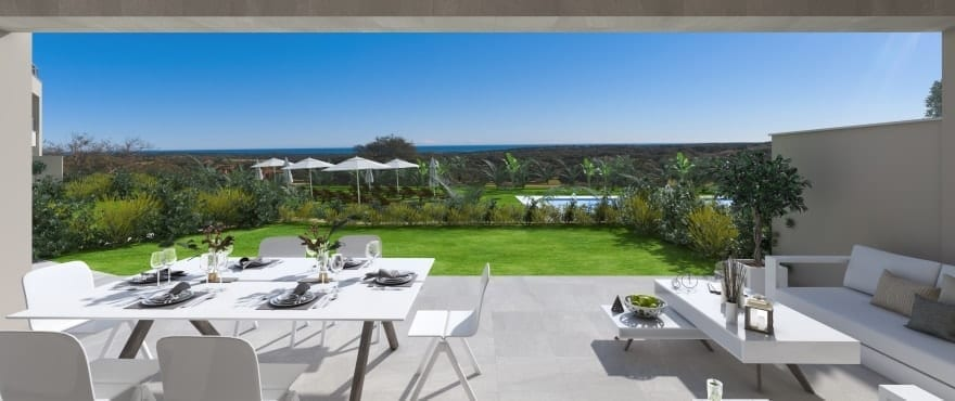 Large terraces with views of the golf course and the sea at Emerald Greens, San Roque. South facing aspect