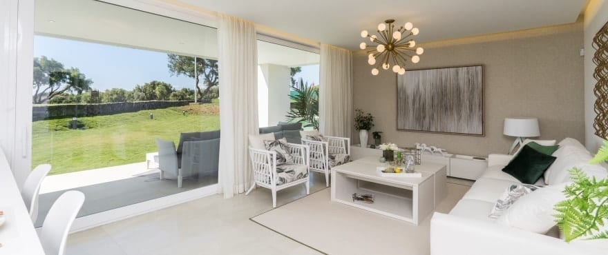 Spacious bright living room with views at Emerald Greens, San Roque