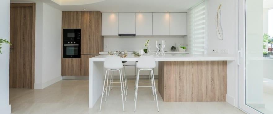 Modern open kitchen at Emerald Greens, San Roque