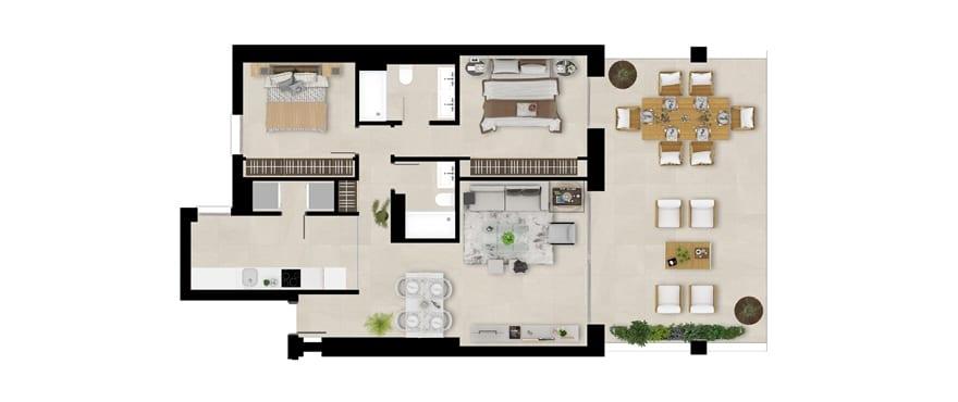 Romplan, 1. etasje, 2-roms , Emerald Greens