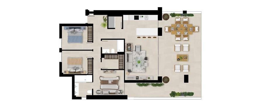 Romplan, 1. etasje, 3-roms , Emerald Greens