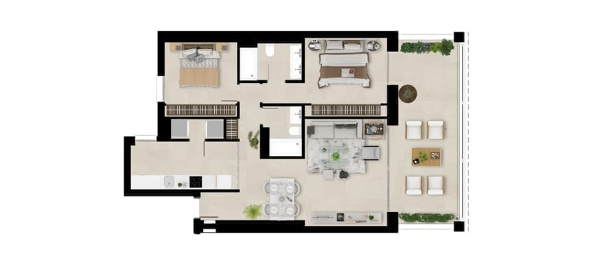 Plan first floor home, 2 bedrooms, Emerald Greens