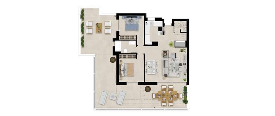 Plan logement attique avec solarium, 3 chambres, Emerald Greens