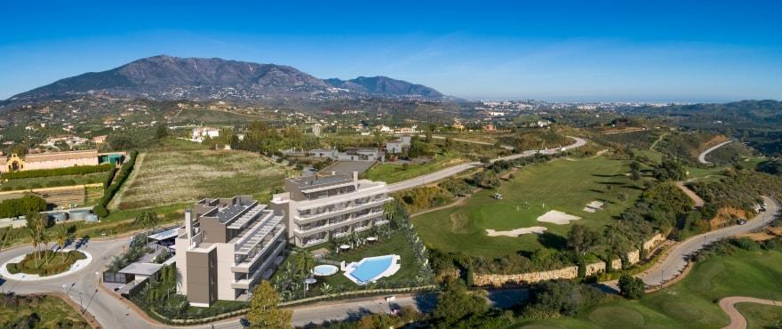 Panoramautsikt från de nya bostäderna Sun Valley, Mijas, Costa del Sol