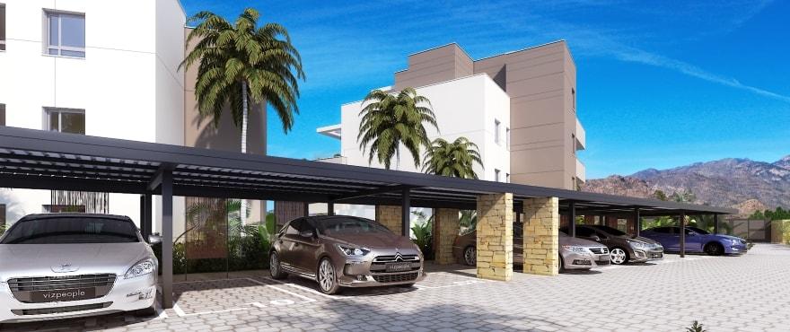 Lägenhet med parkeringsplats utomhus och stora terrasser med panoramvyer