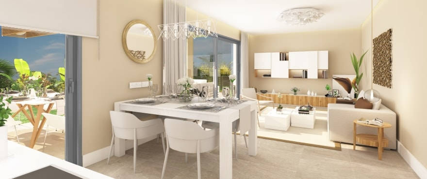 Integrated living room and kitchen at the new development for sale at Sun Valley