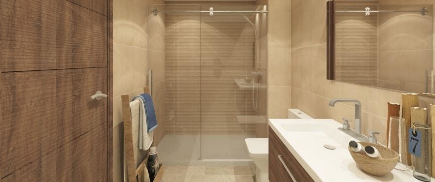 Moderne bad med baderomsinnredning i Sun Valley, med montert dusjvegg