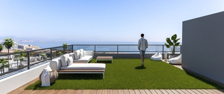 Apartments with large terraces and sea views, and with underground parking and storerooms.