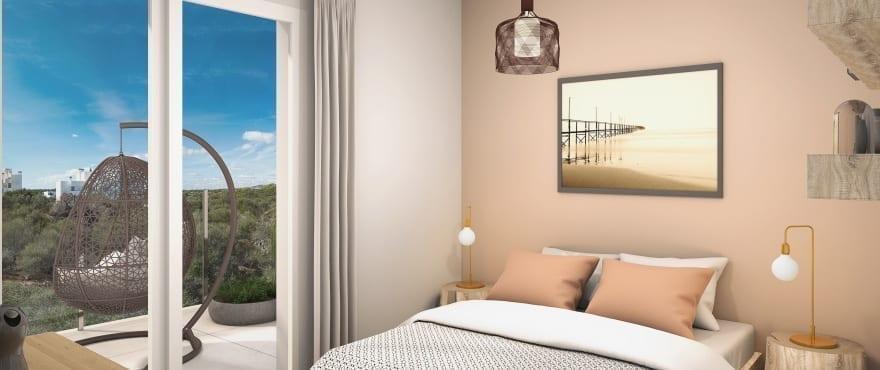 Helles Schlafzimmer in einem der neuerbauten Compass Apartments