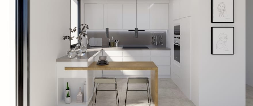 odern kitchen at the new apartments for sale at Iconic, Gran Alacant